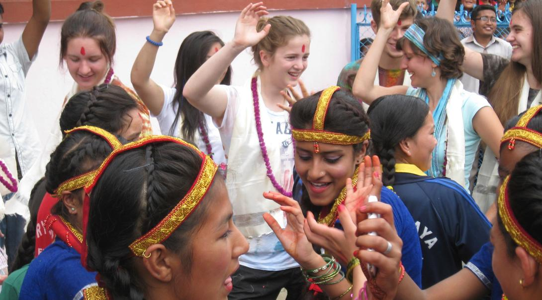 High School Special volunteers celebrate on the last day of their placement in Nepal, Asia